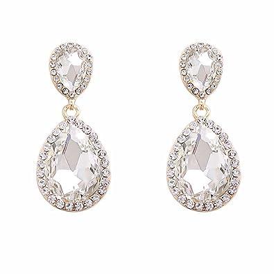 30894a0fd NLCAC Clear Crystal Wedding Earrings Dangle Teardrop Pear Shape Long Chandelier  Earring Bridal