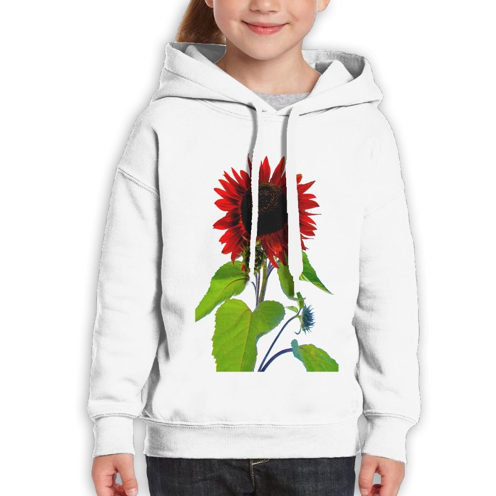 GLSEY Red Sunflower Pattern Youth Soft Casual Long-Sleeved Hoodies Sweatshirts