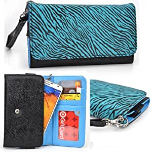 Women's Zip Wallet with Strap for Samsung Galaxy Note GT-N7000 Mobile