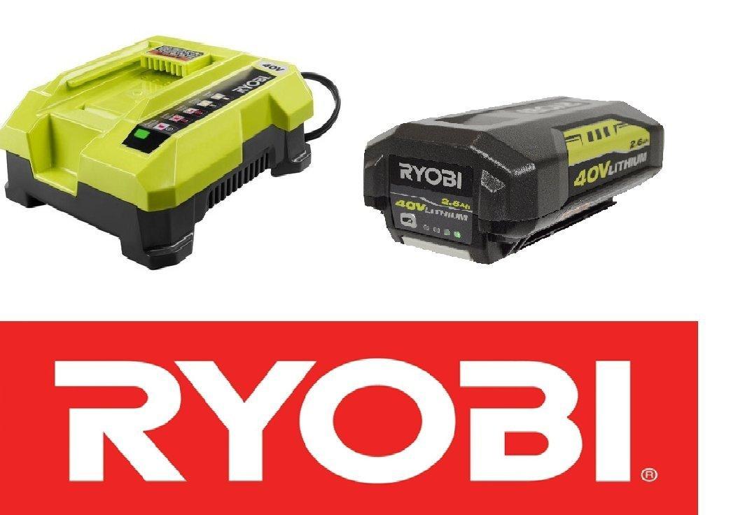 Ryobi OP401 40V Li-Ion Battery Charger & (1) OP40261 40V 2.4Ah Battery (Renewed)