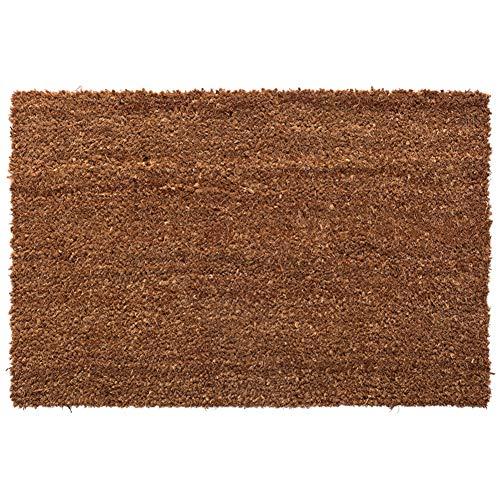 LPZF Natural Coir Doormat Anti Slip, PVC Backing Welcome Mat Dirt Trapper Extra Absorbent Mats Outdoor Indoor Door Mat-Brown - Mat Traditional Coir