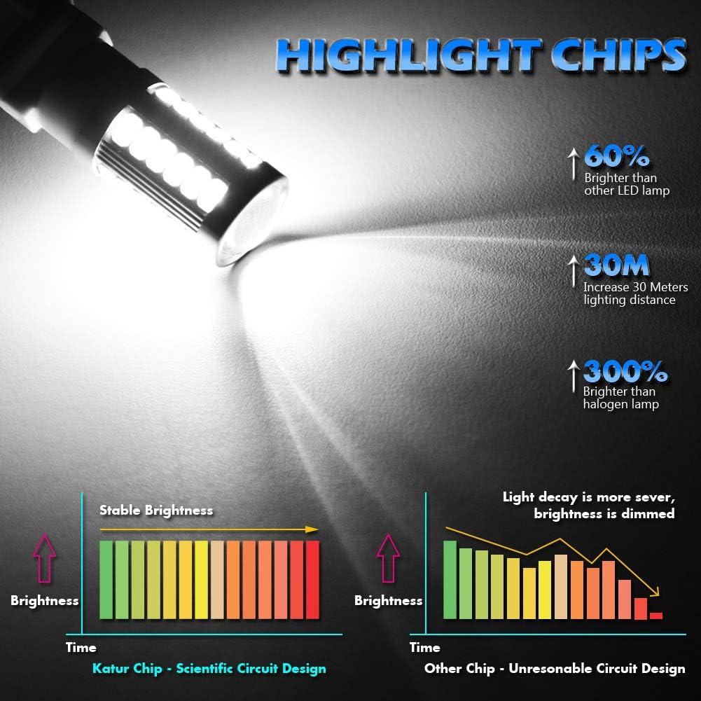 KATUR 2pcs 1156 BA15S 1141 7056 5630 33-SMD Bleu 900 Lumens Super Bright LED Tourner Frein Arri/ère Signal Signal Lampe Ampoule 12V 3.6W