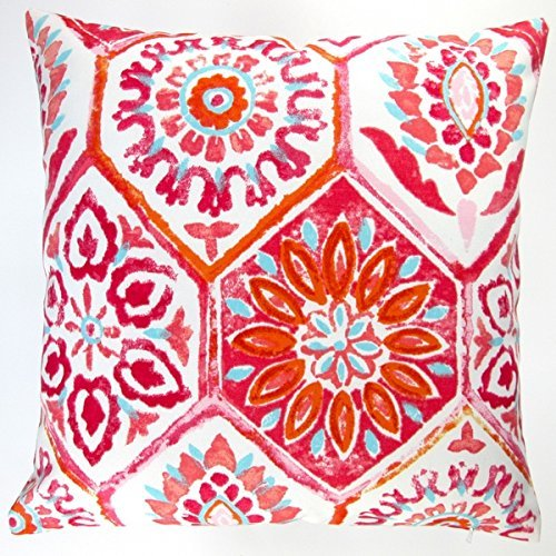 oor 18-inch Pink Modern Abstract Geometric Caribbean Beach House Style Throw Pillow (Set of 2) (Pink Caribbean House)