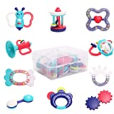 WISHTIME Baby Rattle Teether Baby Toys - 10pcs Shaker, Grab, Shaking Bell Rattle Set Infant Newborn Toys with Storage…
