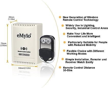eMylo AC 220V-230V-240V 10A 1000W 2 canales Interruptor de control remoto inalámbrico RF Módulo de relé RF Interruptor de aprendizaje autoblocante DIY para lámpara/puerta de garaje/persiana enrollable: Amazon.es: Electrónica