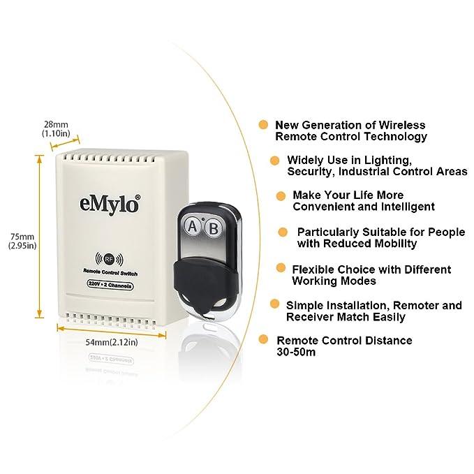 eMylo transmisor AC 220V-230V-240V, 1000 W, 10 A, 2 canales, con control remoto, autobloqueo, Negro