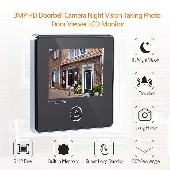 Visor de Puertas Peephole Video Timbre de la Puerta Visor de mirillas Digital Smart Vision Monitor con 3MP, Gran Angular de 120 °, visión Nocturna por ...
