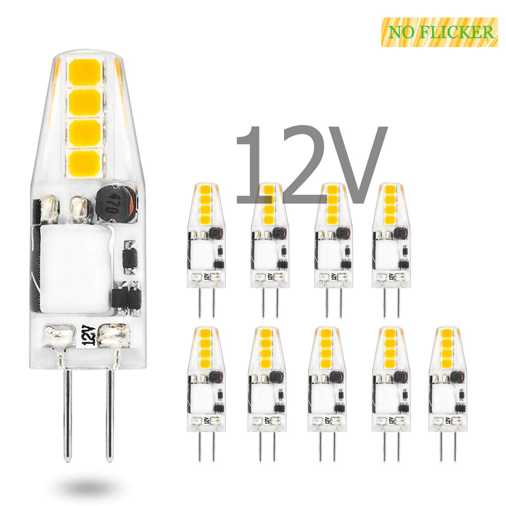 G4 Led Light Bulb Lamp 1.5 W AC DC 12V Non-Dimmable Flicker Free Led Bulb 10W 15W JC T3 Halogen Track Bulb Replacement Daylight 6000K Ceiling Recessed Puck Light Bulb RV Camper Trailer 10 Pack