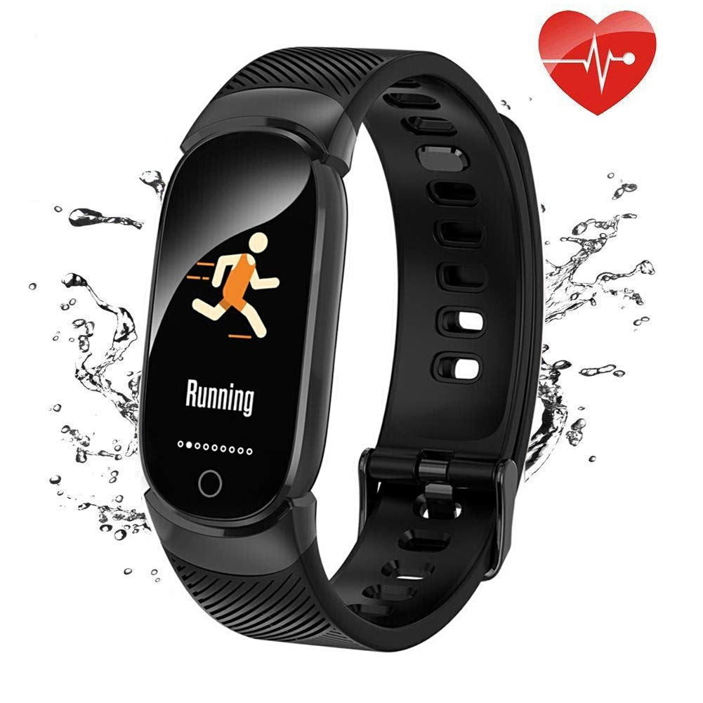QWMoonRu Upgrade Fitness Tracker HR, Waterproof Heart Rate Monitor Blood Pressure Blood Oxygen, Color Screen Activity Tracker Watch with Pedometer Sleep Monitor Smart Watch for Men Women and Kid-Black