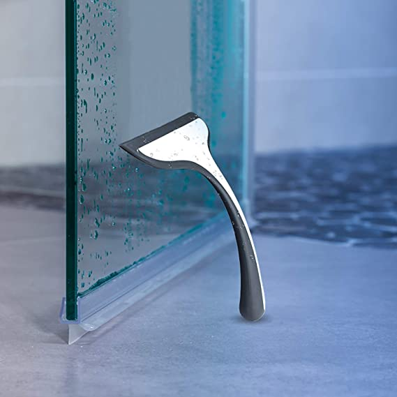 Sealis Limpiador de mamparas de plástico, rasqueta limpiacristales, limpiador de cristales para la cabina de ducha, goma limpiacristales para la ducha, 25,5 cm (gris): Amazon.es: Hogar