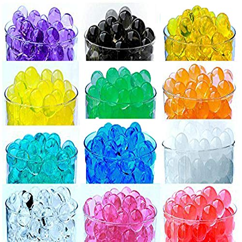 (12 Pack Combo Sooper Beads Decoration Vase Filler - Water Beads Gel - 12 Colors - 5 grams per pack make over a quart per pack - Wedding Decoration Vase Filler - Furniture Decorative Vase Filler - ALMOST 3 GALLONS of BEADS TOTAL)
