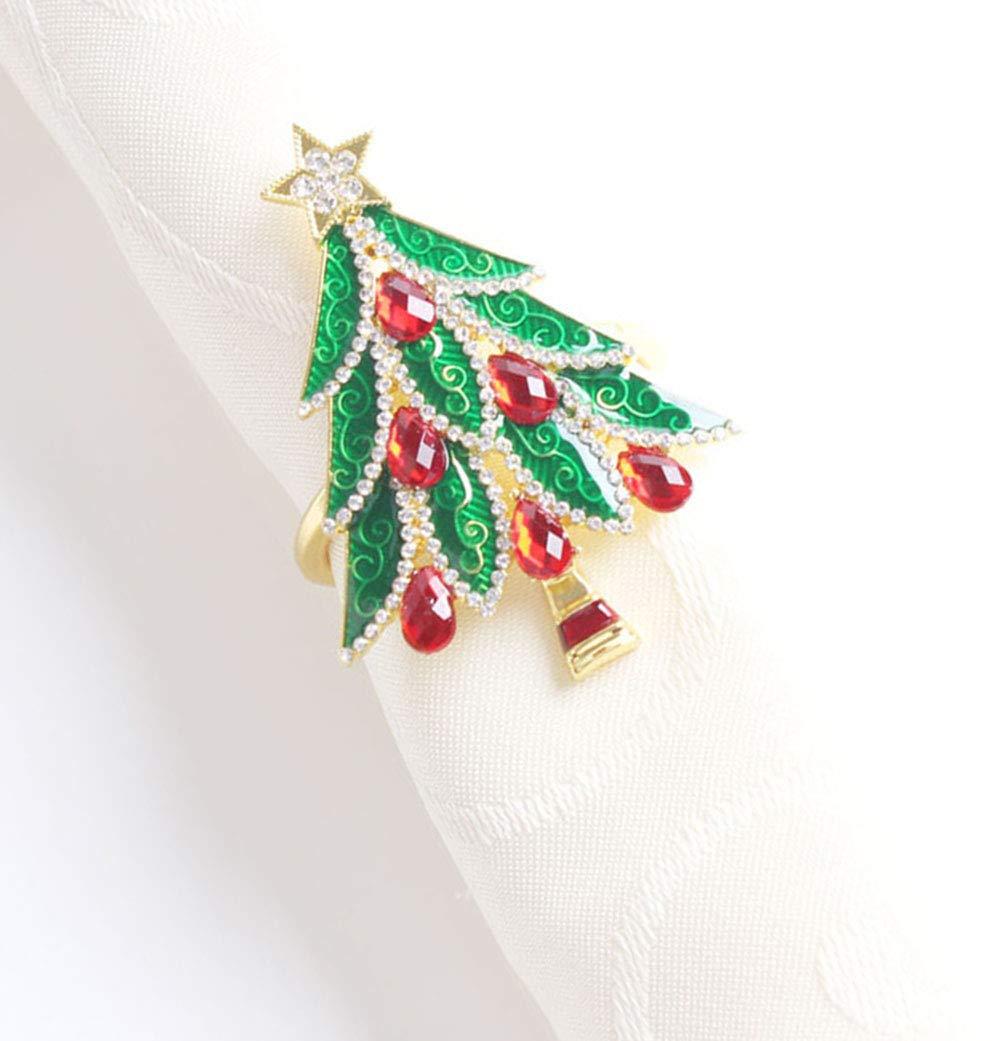 Fennco Styles Decorative Reindeer Snowflake Christmas Tree Holiday Rhinestone Metal Napkin Rings - Set of 4 (Diamond Silver Christmas Tree)