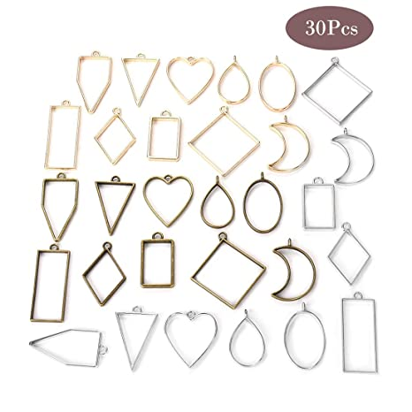 Assorted Geometric Hollow Pressed Flower Open Frame Pendant for Resin Epoxy Jewellery DIY OBSEDE 30 Pcs Mixed Geometry Charms Open Back Bezel Pendants