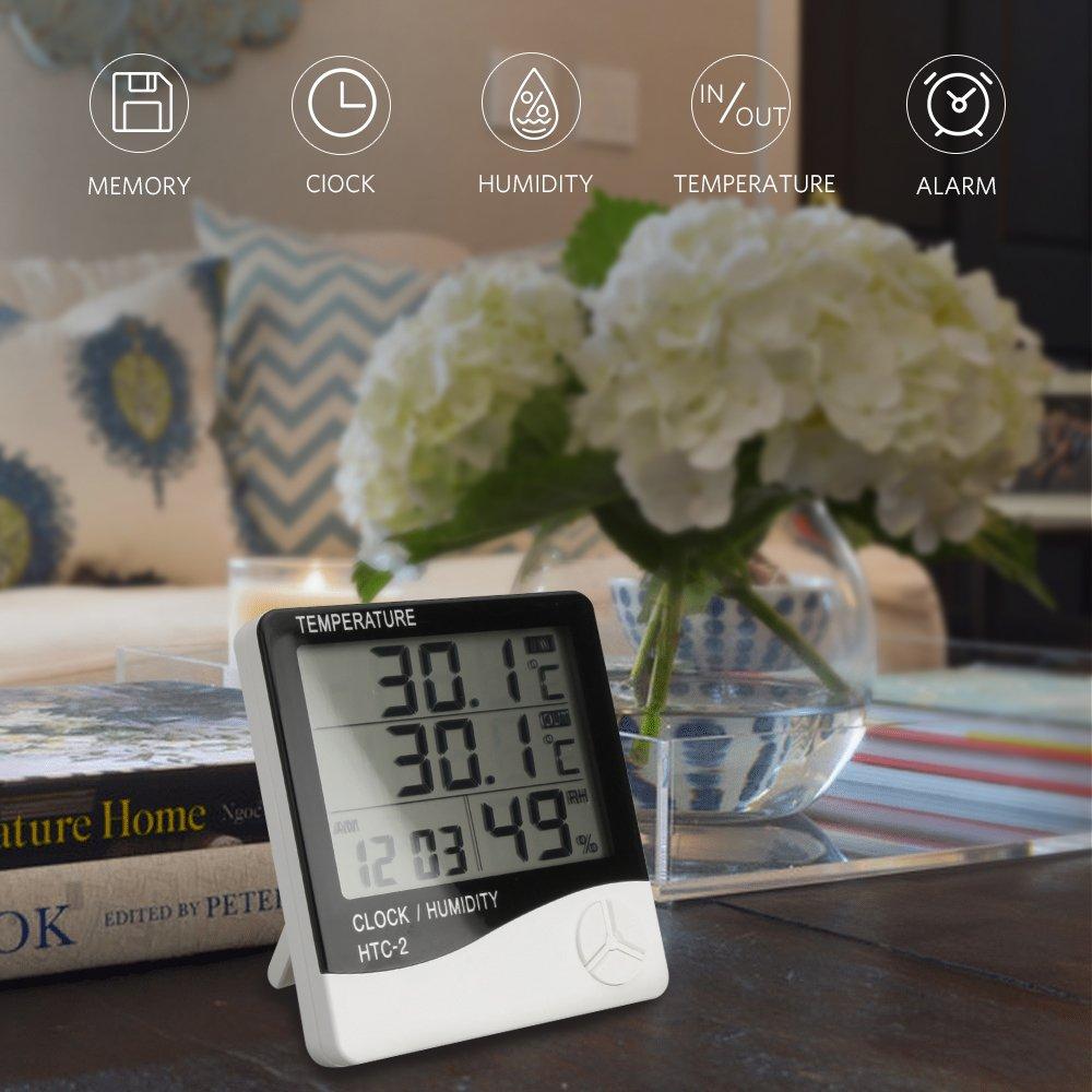 Thermom/ètre Int/érieur Ext/érieur TH01S avec Sonde Hygrom/ètre Horloge Digital /Ércran LCD Affichage avec Temp/érature Humidit/é Date Id/éal pour Maison Jardin Bureau Chambre B/éb/é C/âble