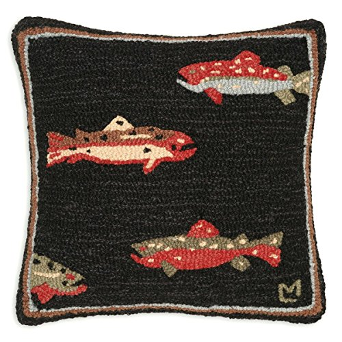 Hooked Trout Home - BLACK FOREST DECOR Trout Hooked Wool Pillow