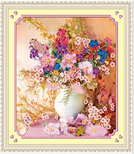 Aureate Handmade Silk Ribbon Embroidery Kits Canvas 3D Wall Art Home Decoration DIY Needlepoint Tapestry Hanging Gift Floral Vase 19