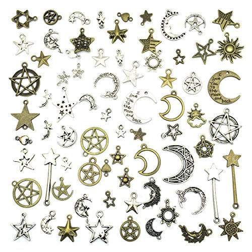 Celestial Mixed Sun Moon Star Charms, JIALEEY Wholesale Bulk Lots Antique Alloy Charms Pendants DIY for Necklace Bracelet Jewelry Making and Crafting, 100g(74PCS) -