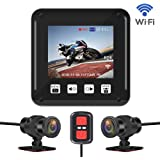 "VSYSTO P6F Motorcycle Dash Cam, Full HD Dual 1080P 150° Wide Angle 2.0"" LCD Motorcycle Camera DVR, with Loop Recording & G-Sensor, Full Body Waterproof Video Driving Recorder with WiFi"