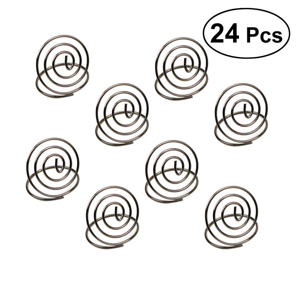 BESTONZON 24 piezas de acero inoxidable creativo redondo forma de tarjeta soporte de cí rculo esté reo Nota Pad mesa nú mero soportes de la mesa menu clips (plata)