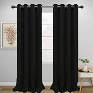 Easy-Going Blackout Curtains for Bedroom, Solid Thermal Insulated Grommet and Noise Reduction Window Drapes, Room Darkening Curtains for Living Room, 2 Panels(52x96 in,Black)