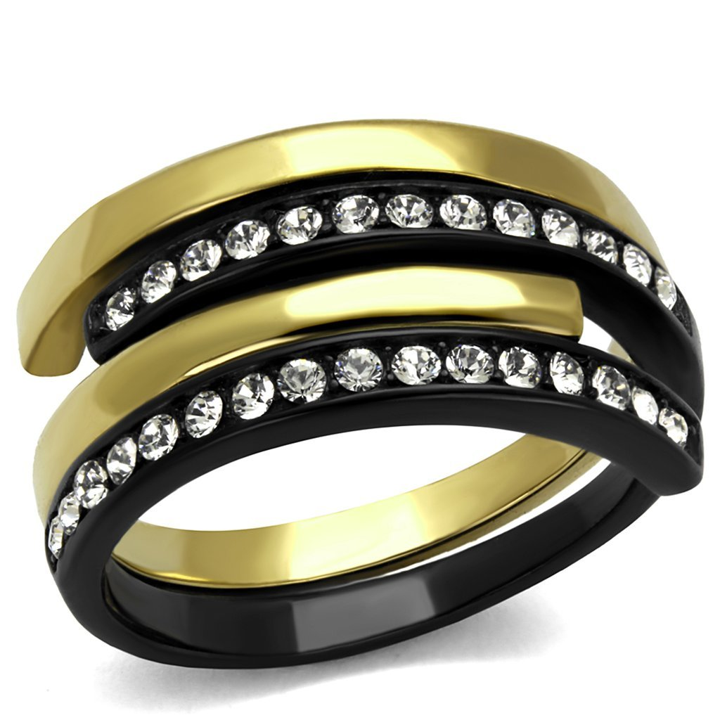 Women/'s 2 Piece Black /& Gold Plated Stainless Steel Crystal Cuff Fashion Ring