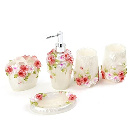 Fuloon Country Style Resin 5PC Bathroom Accessories Set Soap  Dispenser/Toothbrush Holder/Tumbler/