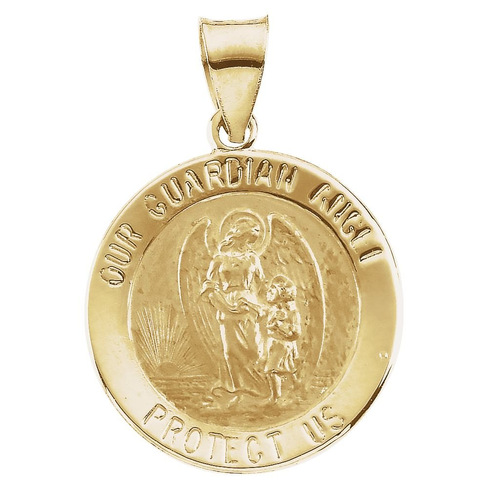 14K Yellow Gold 18mm Hollow Round Guardian Angel Medal