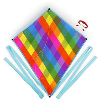 "K-Roo Sports Super Rad Rainbow Plaid 24"" x 28"" Beginner Level Outdoor Diamond Kite: Toys & Games"