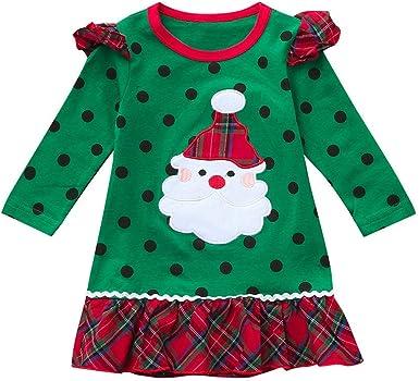 POLP niño Navidad Ropa niñas Bebe Navidad Regalo Estampado de Navidad Manga Larga Santa Claus Camiseta Vestido de Manga Larga con Estampado de Dibujos Animados Falda 12M-5años 1pc: Amazon.es: Ropa y accesorios