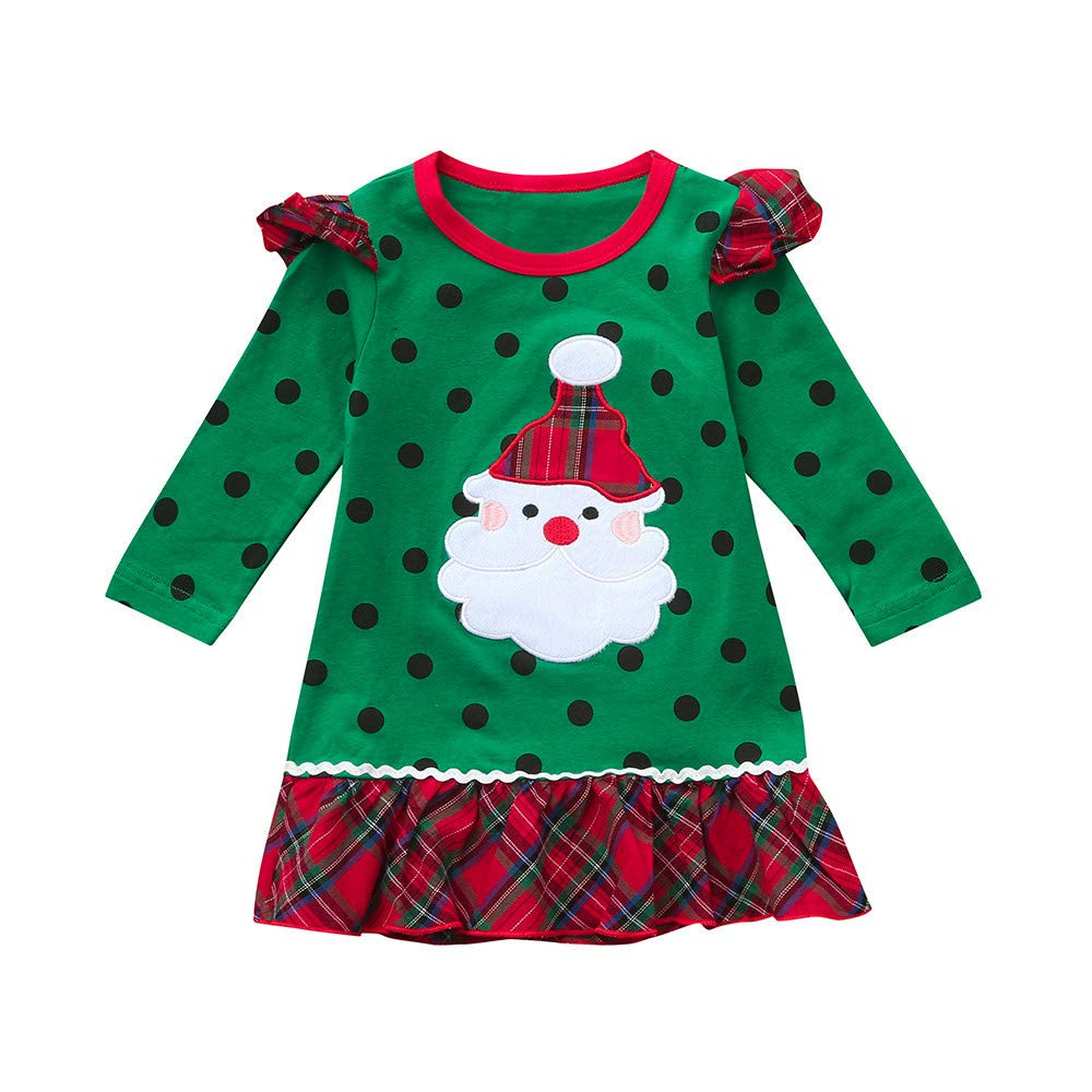 b0000cfa252 POLP Niño Navidad Ropa niñas Bebe Navidad Regalo Estampado de Navidad Manga  Larga Santa Claus Camiseta