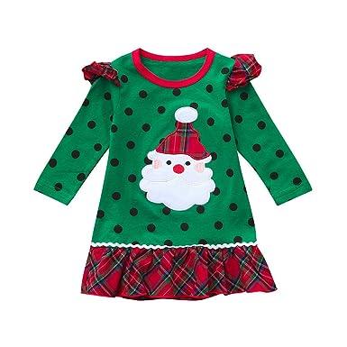 678d984ca POLP Niño Navidad Ropa niñas Bebe Navidad Regalo Estampado de Navidad Manga  Larga Santa Claus Camiseta
