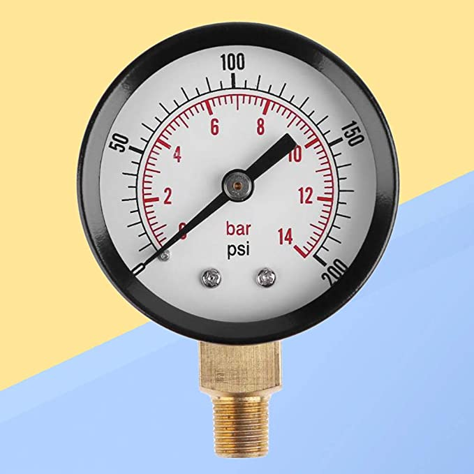UKCOCO Medidor de presión de vacío para compresor de aire, agua, aceite, gas, 0-200psi 0-14bar: Amazon.es: Bricolaje y herramientas
