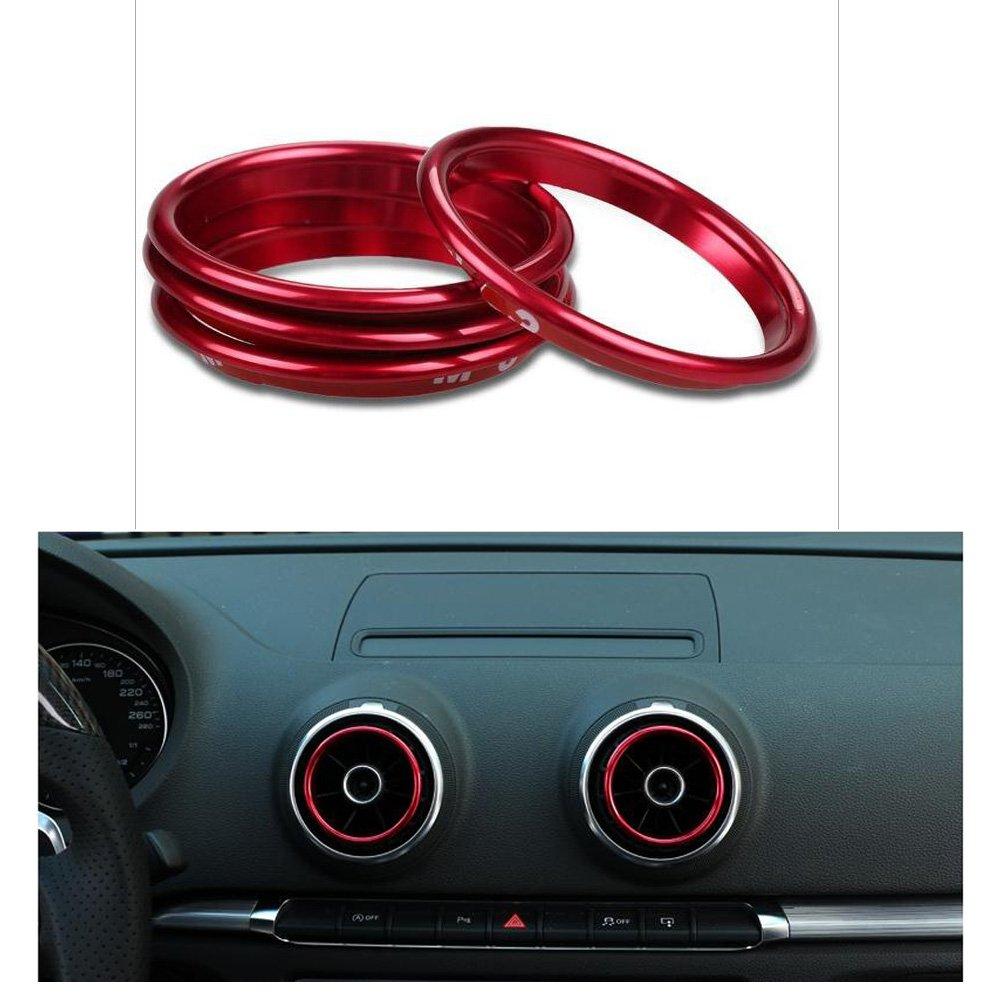 VIGORFLYRUN PARTS LTD 4 Stü cke Klimaanlage Entlü ftungsventil Outlet Ring Air Vent Dekoration Aufkleber Ring Auto Hinten AIR Outlet Abdeckung Trim Limousine Rot