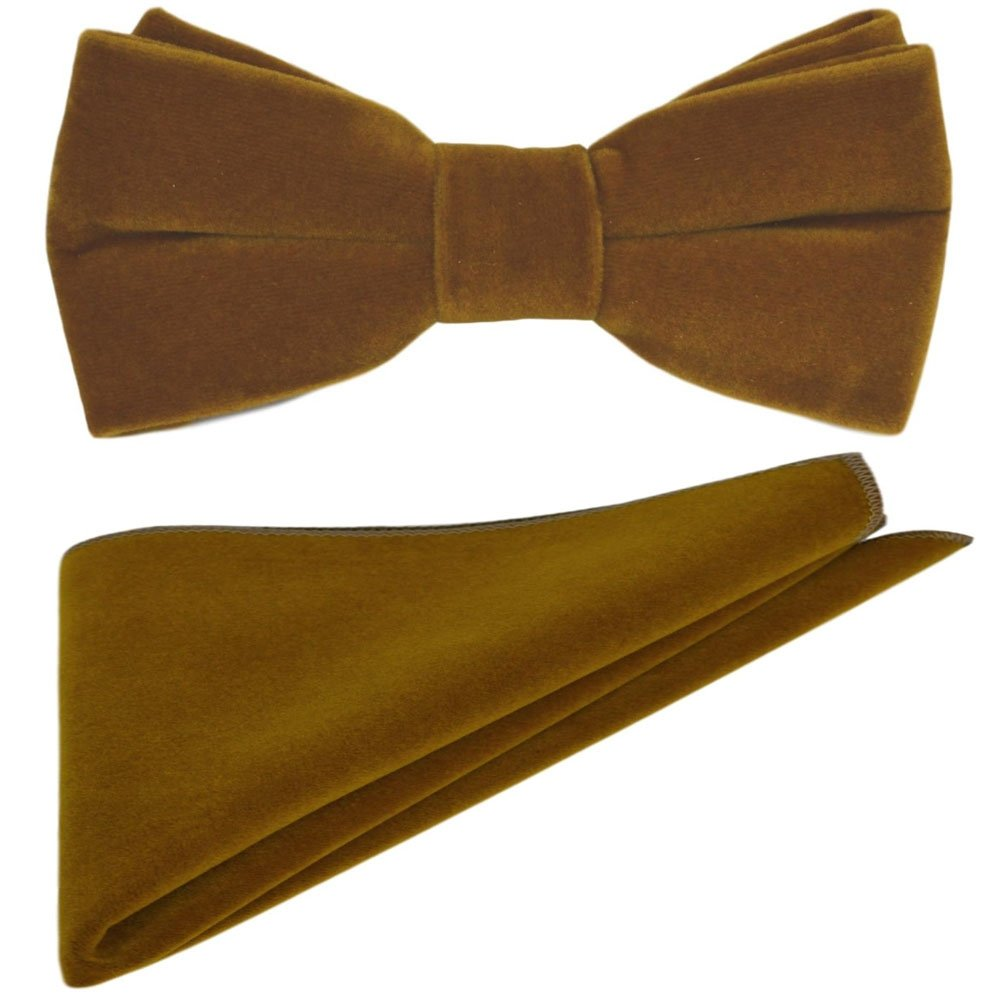 Luxury Cider Brown Velvet Bow Tie /& Pocket Square Set