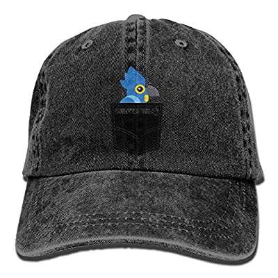 Pocket Parrot Cartoon Men Athletic Denim Cotton Adjustable Dad Hat Baseball Cap