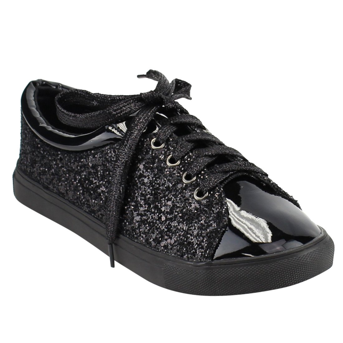 FOREVER FP37 Women's Metallic Glitter Lace up Street Fashion Sneakers B078PBSBT8 9 B(M) US|Black