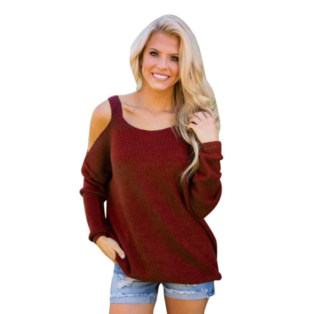 KaiCran Fashion Knitted Sweatshirt Women Casual Long Sleeve Off The Shoulder Sweatshirt Top Blouse