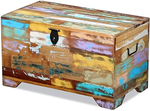 vidaXL Solid Reclaimed Wood Storage Chest Box Trunk Coffee Side Couch Table
