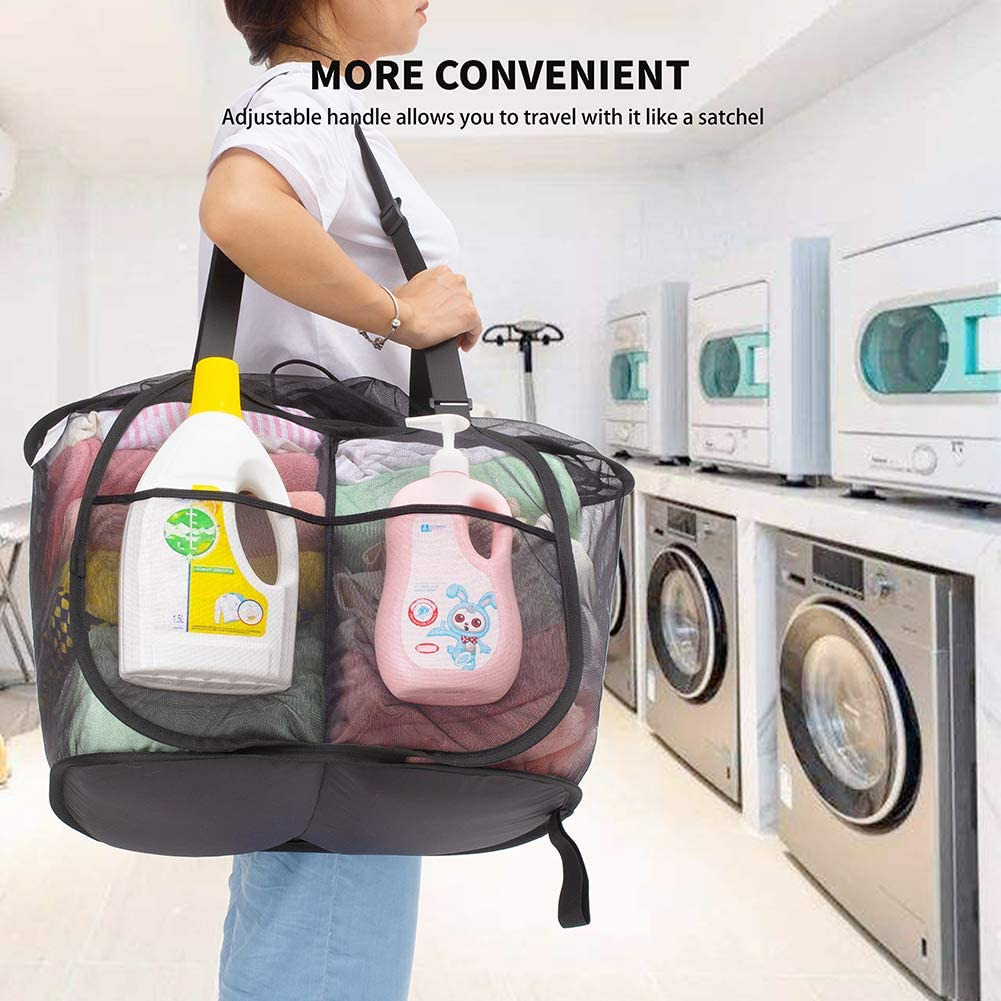 Easy to Carry and Storge. Black Large Opening 2 Compartment Collapsible Laundry Sorter Baskets for Home and Travel with Adjustable Handles /& Drawstring Closure TENRAI Pop Up Laundry Hamper