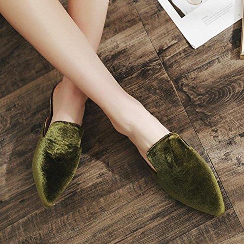 Estimado Tiempo Mujeres Faux Suede Puntiagudo Mula Zapatillas Zapatillas De Moda De Verano Zapatos Planos Verdes