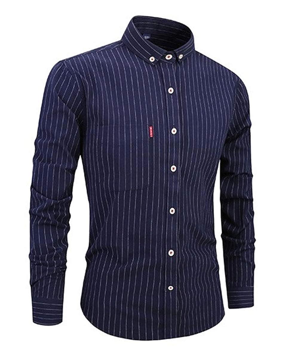 TQF1 Mens Casual Long Sleeve Shirt Slim Shirt Navy Blue,XXXX-Large