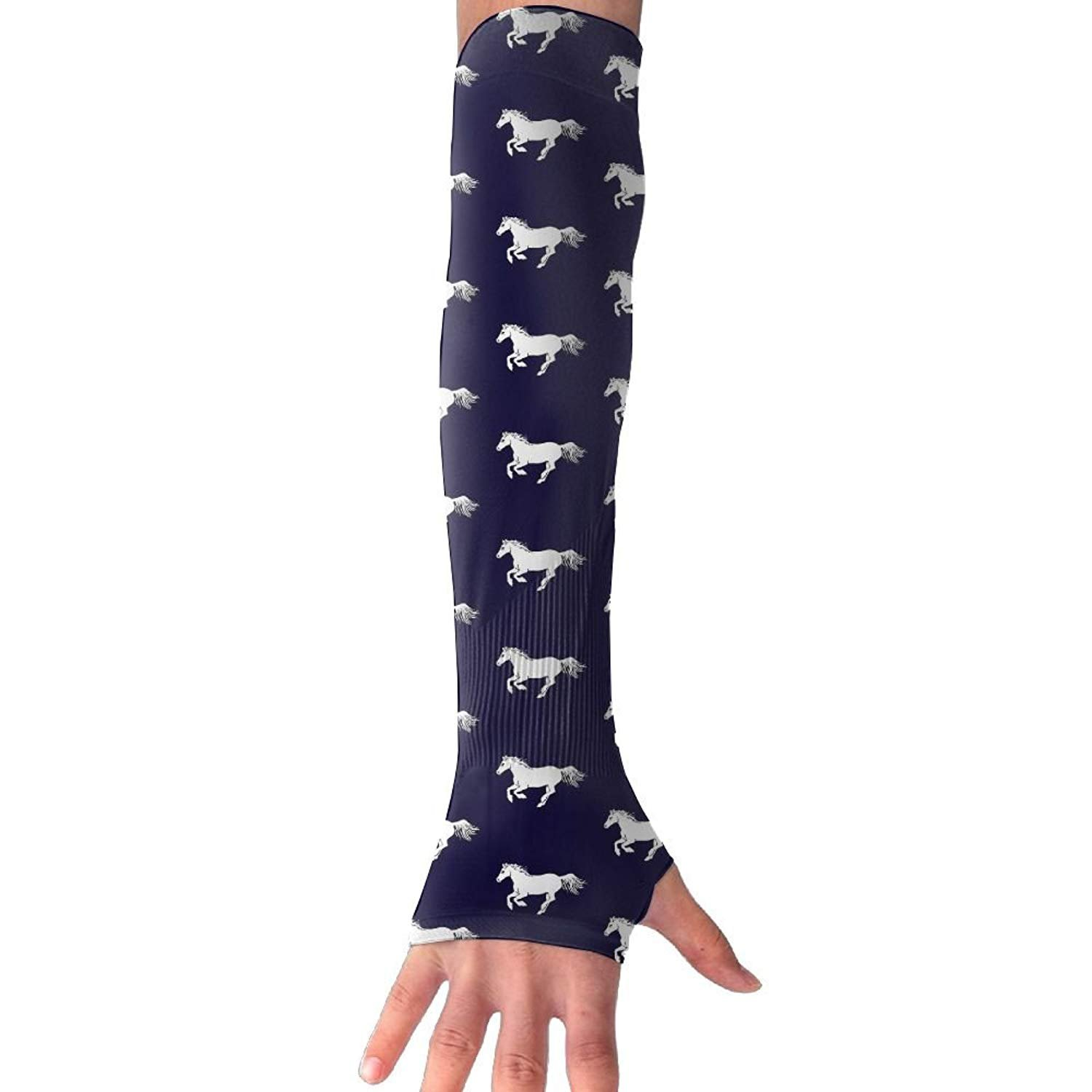 Unisex Red Horses Navy Blue Sunscreen Outdoor Travel Arm Warmer Long Sleeves Glove