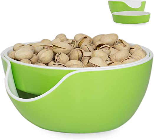 Green Double Dish Pistachio Bowls Pedestal Snack Double Dish Serving Nut Bowl and Olive Snack Serving Bowl