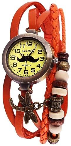 Alain Miller Retro Reloj de pulsera reloj analógico Mujer Naranja Quartz Reloj De: Amazon.es: Relojes