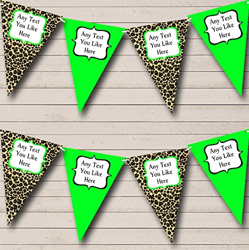 Leopard Print And Lime Green Personalized Birthday Party Bunting Banner Garland ()