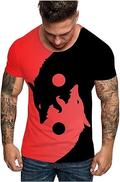 LANSKIRT Camiseta de Manga Corta con Estampado de Cabeza de Lobo ...