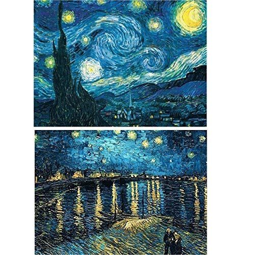 2 Packs 5D DIY Diamond Painting Set Full Drill Diamond Painting Starry Night Wall Stickers for Living Room(30X40CM/12X16inch) -