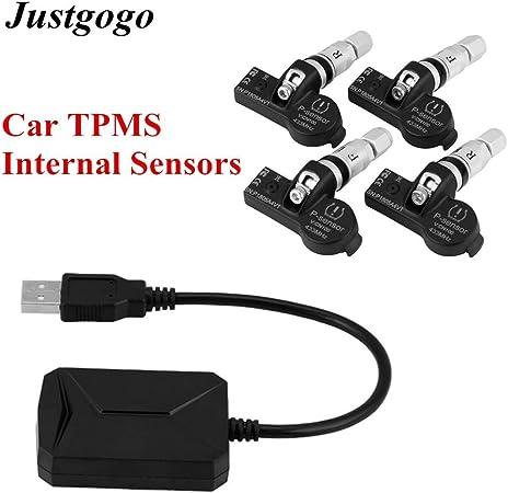 Tpms Autoreifendruckkontrollsystem Mit 4 Sensoren Mit Akustischem Und Licht Signal Rdks Usb Empfänger Für Auto Auto