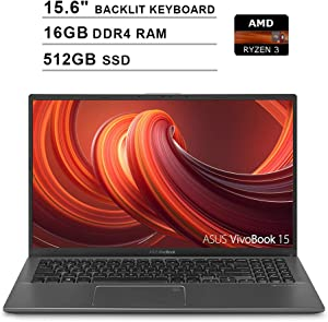 2020 ASUS VivoBook 15 15.6 Inch FHD 1080P Laptop (AMD Ryzen 3 3200U up to 3.5GHz, 16GB DDR4 RAM, 512GB SSD, AMD Radeon Vega 3, Backlit Keyboard, FP Reader, WiFi, Bluetooth, HDMI, Windows 10) (Grey)