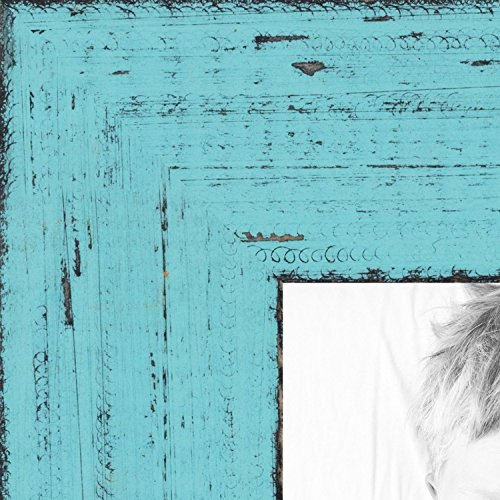 ArtToFrames 24x36 inch Distressed Eggshell Blue Wood Picture